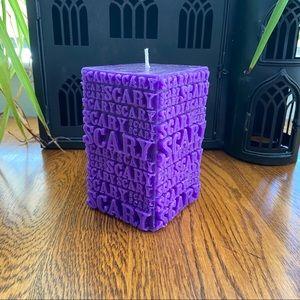 Purple Scary Halloween Candle